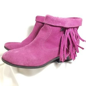 Sam Eldeman Purple Leather Booties Womens Size 4
